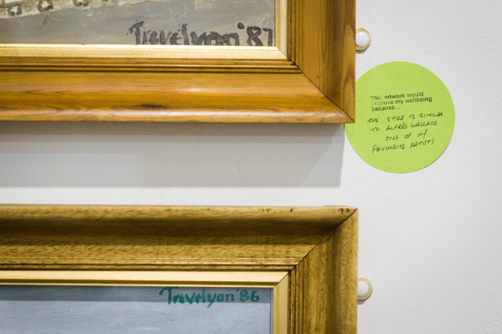 Close-up of a handwritten comment on a sticky note placed next to a painting on a wall in an exhibition