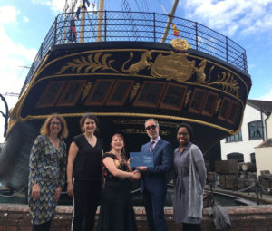 Presenting the Collections Trust Award at the stern of SS Great Britain