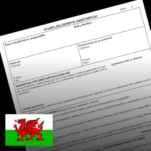 Front of Object entry form in Welsh