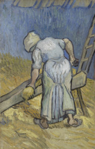 Van Gogh's Peasant woman bruising flax (after Millet), Saint-Rémy-de-Provence, September 1889
